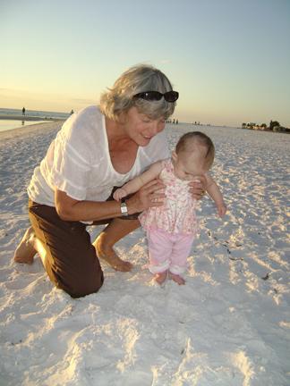 Arlene and Zidi at 'da beach'...is it snow or sand, grandma?