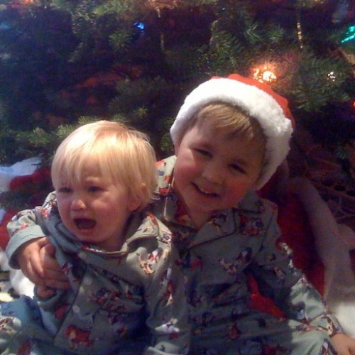 """""""Peace on Earth"""" Chris' grandsons showing the passions of the season"""