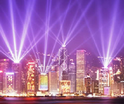 Hong Kong skyline laser light show