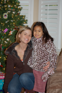 Getting into the holiday spirit. (With her Auntie Christine)