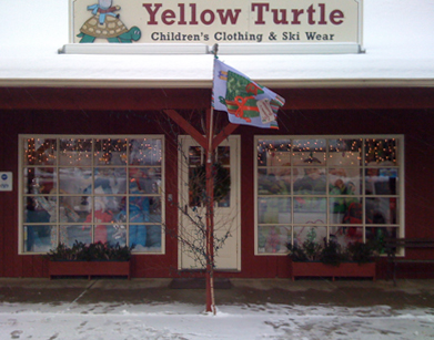 Yellow Turtle in (brrrrr!) snowy Stowe, VT