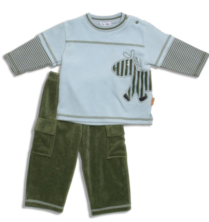 le•top Z-z-zebra shirt and pant in velour