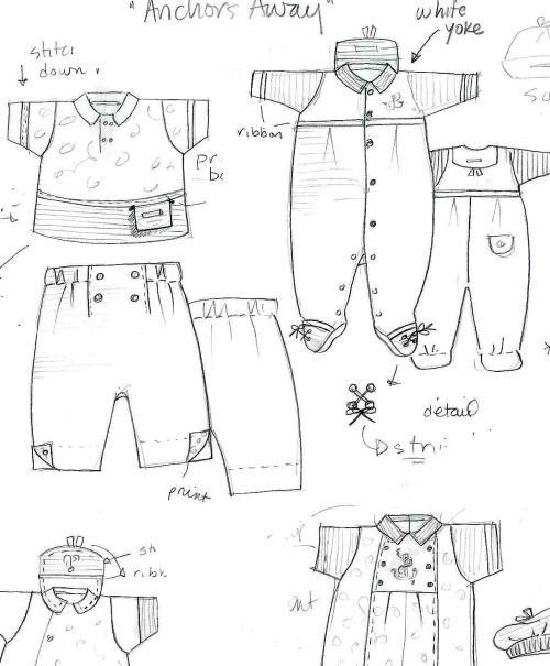Design sketches by head le•top baby designer MaryKate