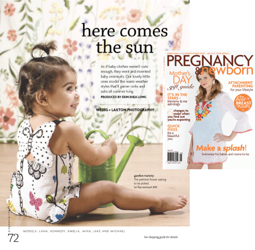 Pregnancy and Newborn Magazine's baby swimsuits issue, May 2009, featuring le•top's Butterfly Wishes
