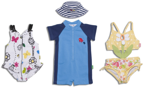 le•top swimsuits from l-r: Butterfly Wishes, Deep Ocean, Strawberry Fields