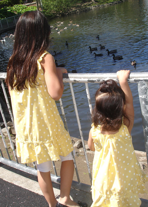 Kira and Alyssa feeding the ducks