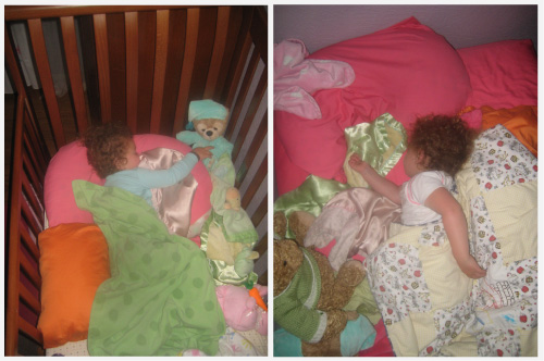 Lilah's last night in her crib and her first night in a big-girl bed...