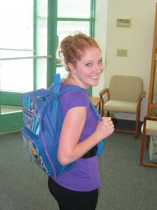 Kristin Sporting Her Donated Backpack