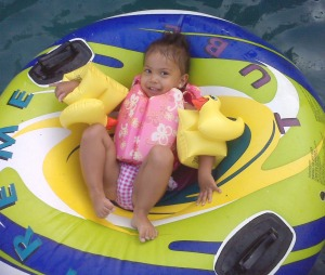 Alyssa Lounging in the Pool