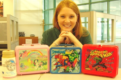 Kristin with Her Favorite Lunchboxes