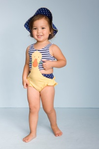 Our model is wearing the Daisy Duck monokini